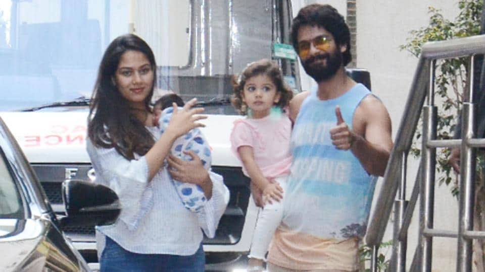 Shahid Kapoor with wife Mira Rajput, son Zain and daughter Misha.