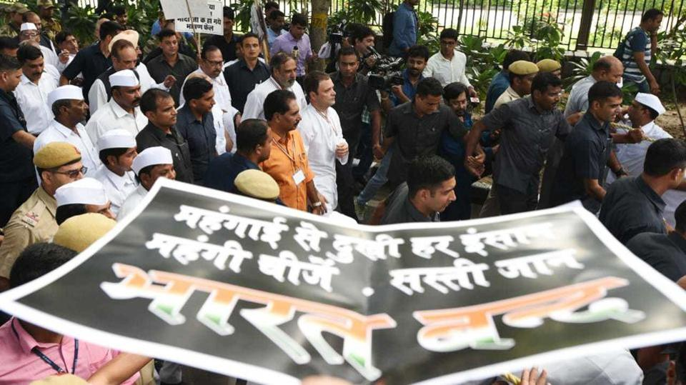 Normal life was affected in several parts of the country on Monday as the Congress-led opposition held protest marches, forced train blockades and closure of shops during a 'Bharat Bandh' against the steep rise in petrol and diesel prices. Congress president Rahul Gandhi led the protests at a meeting in Delhi along with former Prime Minister Manmohan Singh, NCP chief Sharad Pawar and former JD(U) chief Sharad Yadav. (Sonu Mehta / HT Photo)