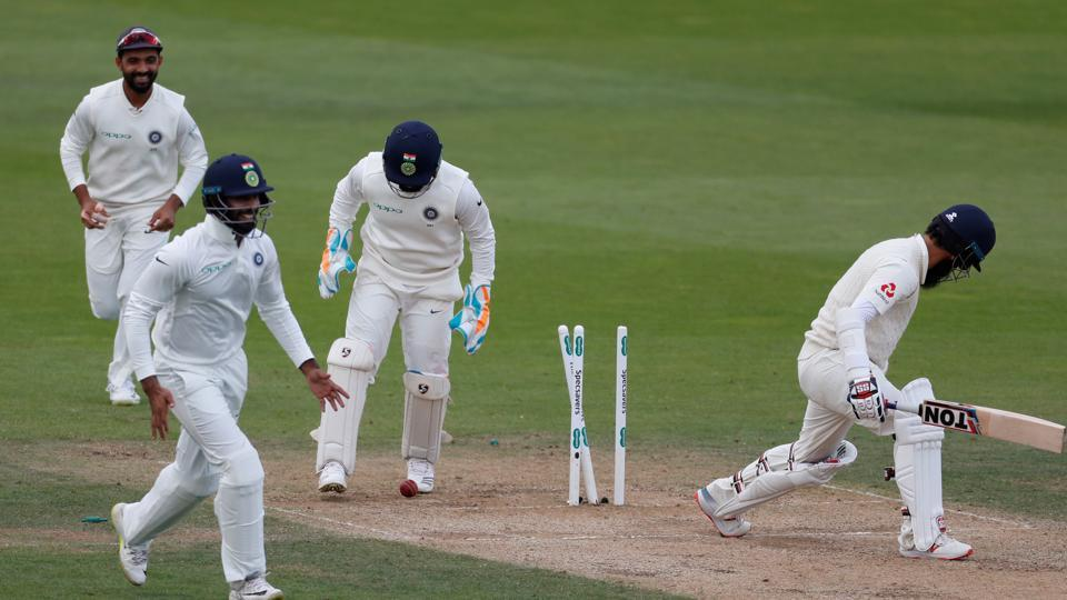 England's Moeen Ali is bowled by India's Ravindra Jadeja. (REUTERS)