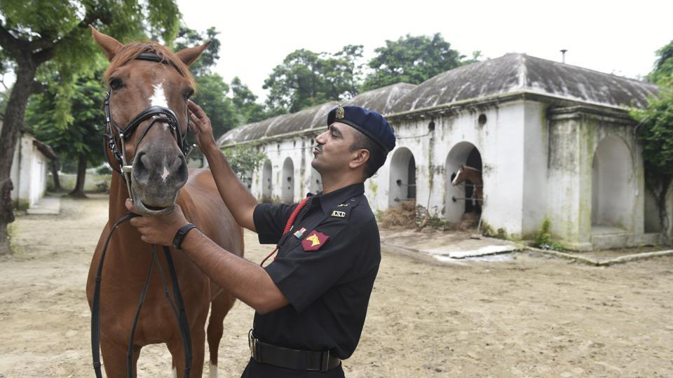Lt Col Bharat Singh, training officer of Army Equestrian Node at the Equestrian Faculty of Remount and Veterinary Corps (RVC) Centre and College in Meerut, Uttar Pradesh. There are Army horse training centres across the country, including in Karnataka, Haryana, West Bengal and Uttar Pradesh, but the Equestrian Node at Meerut is the only one that trains show horses. (Sanchit Khanna / HT Photo)