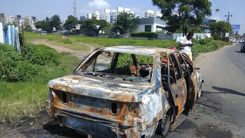 The car in question in which the body of woman was found at Hinjewadi early on Monday morning.