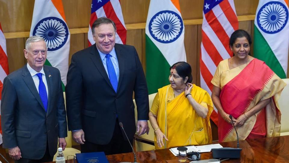 External affairs minister Sushma Swaraj, defence minister Nirmala Sitharaman, US secretary of state Mike Pompeo and US secretary of defense James Mattis at a joint press conference after the India-US 2 + 2 Dialogue, in New Delhi, on September 6, 2018.