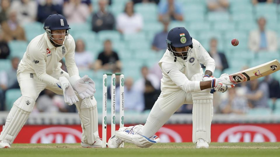 India's K. L. Rahul hits a four behind during Day 5 of the fifth Test. (AP)