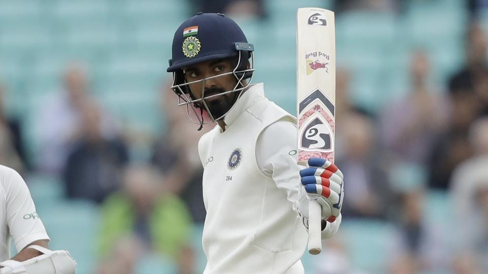 K. L. Rahul raises his bat after reaching 50 runs on the final day of the fifth test match of a five match series between England and India at the Oval in London. Chasing a daunting target of 464 runs, India lost their top order batsmen on day four with the pair of K L Rahul and Rahane looking to salvage a draw in a series in which England are already 3-1 ahead. (Matt Dunham / AP)