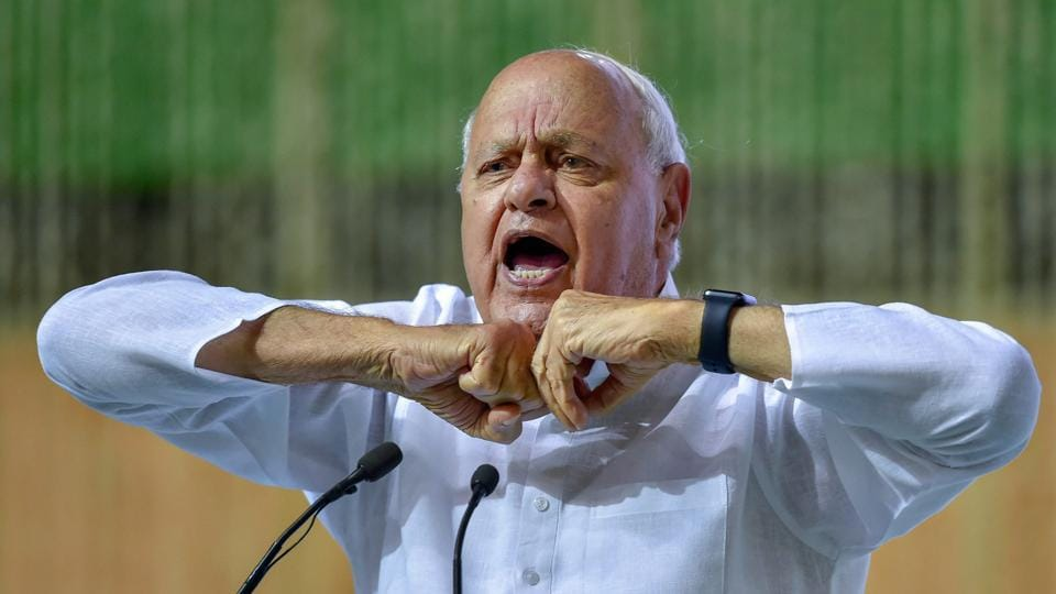 Jammu and Kashmir National Conference president Farooq Abdullah addresses an all-party condolence meeting organised for former Prime Minister Atal Bihari Vajpayee, New Delhi, August 20, 2018