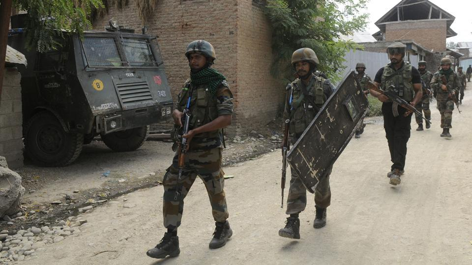 Two militants were killed in an ongoing encounter with security forces in Jammu and Kashmir's Kupwara, which began in the early hours of Monday in Galoora village. Security forces launched a cordon and search operation in the area early Tuesday morning following specific information about the presence of militants there. (Waseem Andrabi / HT Archive)