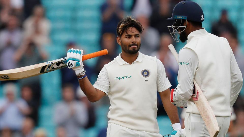 India's Rishabh Pant (L) celebrates his century. (AFP)