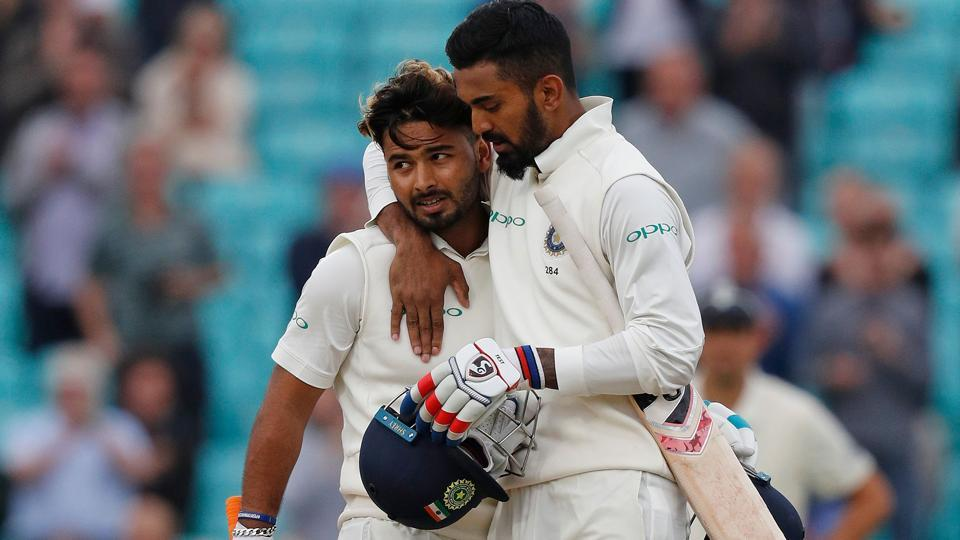 India's Rishabh Pant (L) celebrates his century with India's KL  Rahul. (AFP)