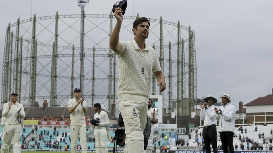 London: England's Alastair Cook, at the end of his last ever match before retiring from Test cricket. (AP)