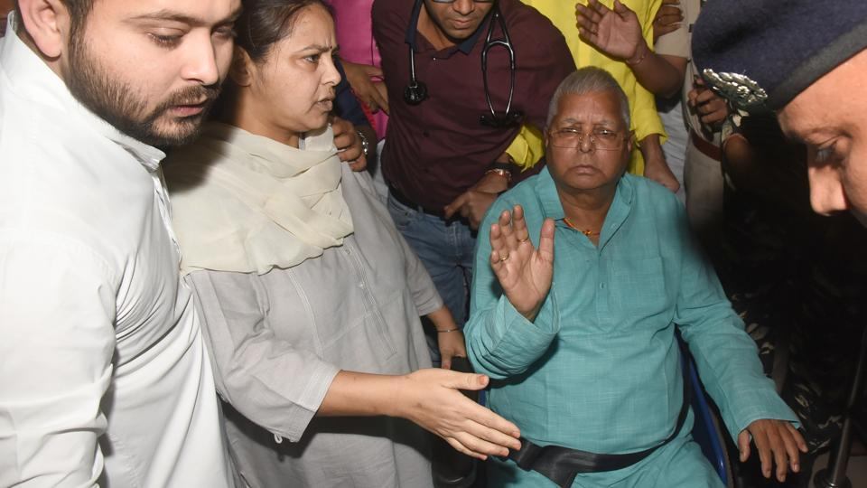 A local court is scheduled to look into a chargesheet on Tuesday against former Railway Minister and Rashtriya Janata Dal chief Lalu Prasad, his wife Rabri Devi, son Tejashwi Prasad and others in a money laundering case related to the 2006 IRCTC hotels maintenance contract. (Santosh Kumar / HT Archive)