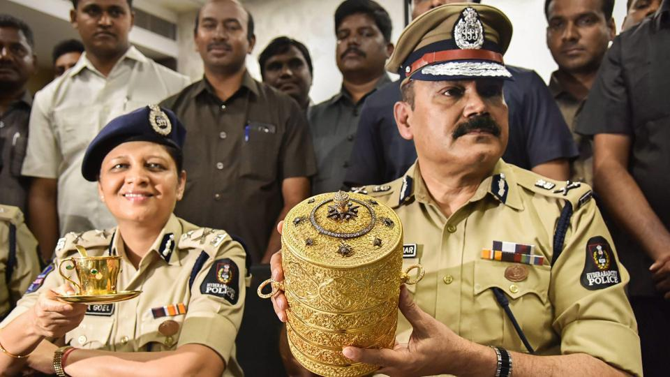 Hyderabad Police has cracked the case of theft of antique items, including a gold tiffin box inlaid with diamonds, from the Nizam's Museum, with the arrest of two people, a senior police officer said Tuesday. Fifteen special teams were formed as part of the probe to detect the theft that took place on September 2 from the third gallery of the museum at Purani Haveli. (PTI)