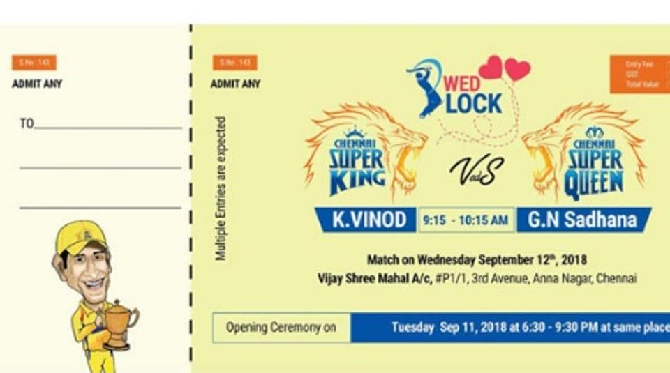 Image of the wedding card uploaded by Chennai Super Kings