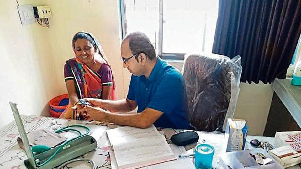 IIPHG-trained community health officer Abid Mansuri, 32, at the Health and Wellness Centre in Raslod village in Gujarat's Sabarkantha district.