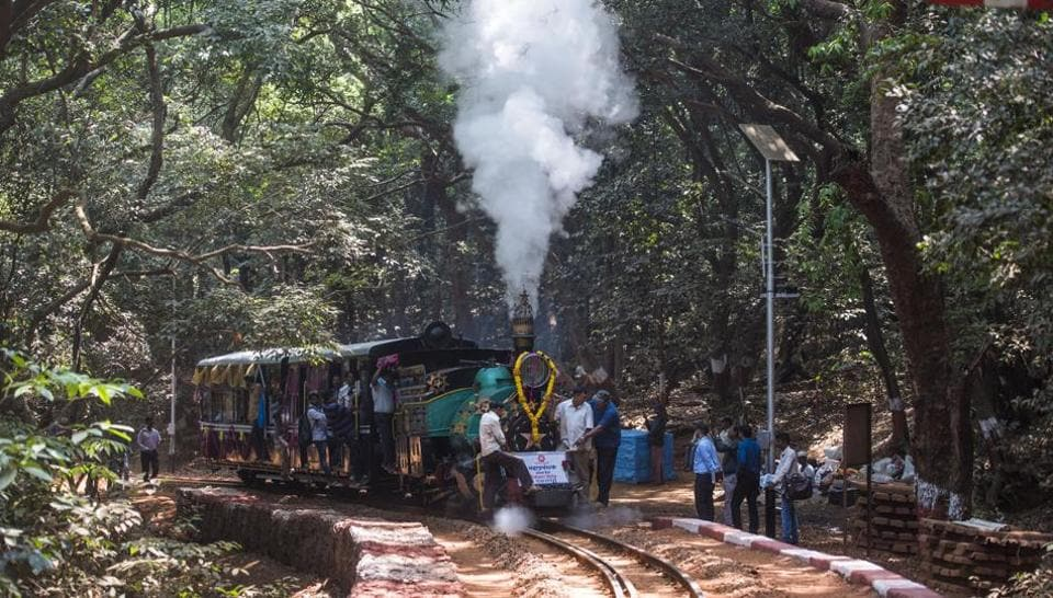 On the occasion of World Heritage Day Central Railway runs(Ceremonial) Matheran toy train with Steam locomotive from Aman Lodge to Matheran in Mumbai, India.