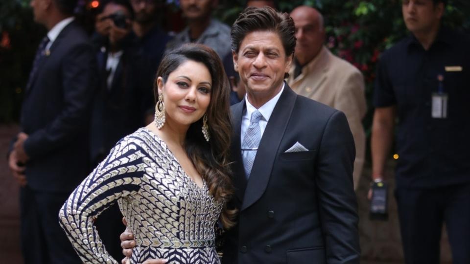 Shah Rukh Khan and his wife Gauri Khan at Akash Ambani and Shloka Mehta engagement in Mumbai. SRK remains one of the most popular actors across the globe.