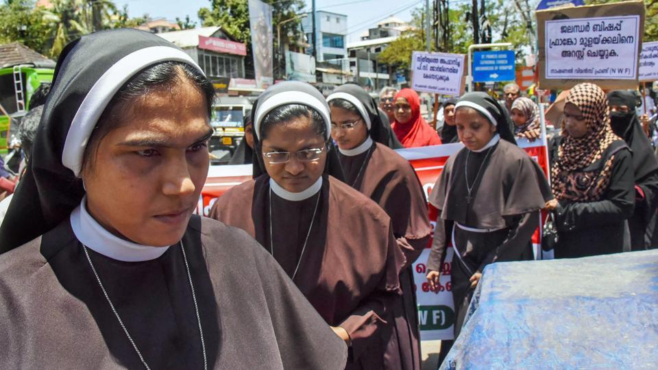 Nuns, supported by women from the Muslim community protest against the delay in action on a Roman Catholic church bishop who is accused of sexually exploiting a nun in Kochi, Kerala on September 11, 2018. (PTI)