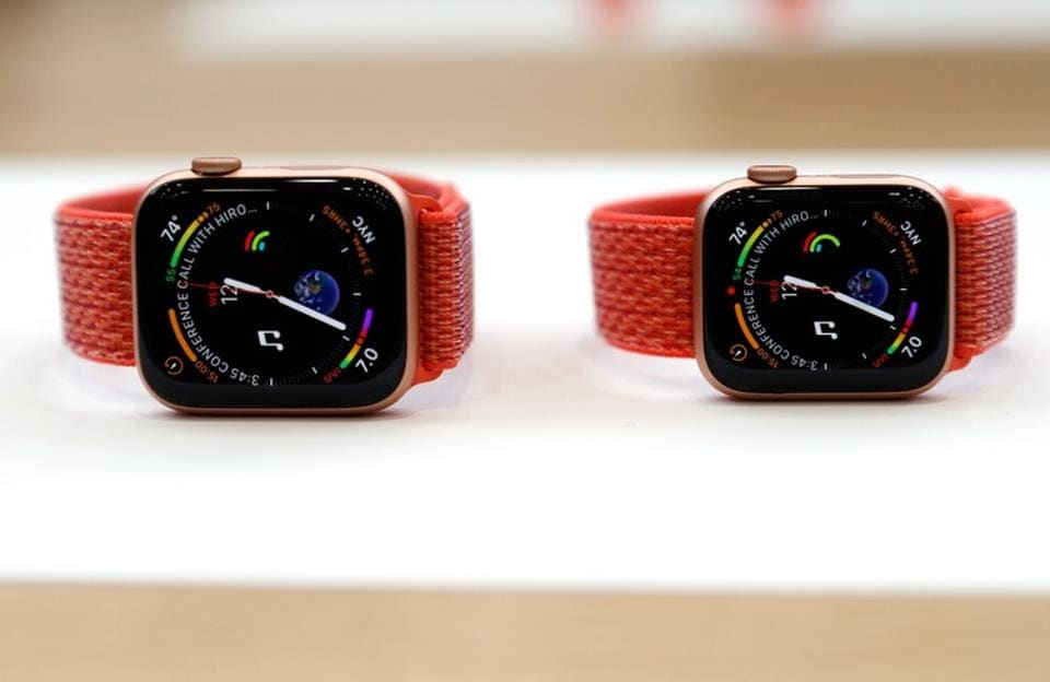 A demonstration of the newly released Apple Watch Series 4 is seen following the product launch event at the Steve Jobs Theater in Cupertino, California.