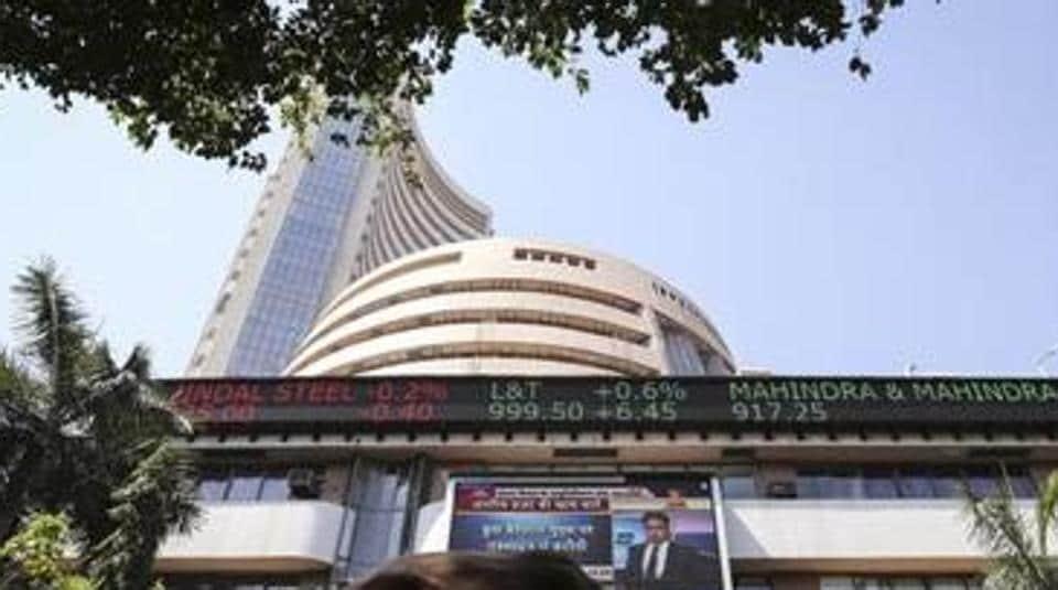 The Bombay Stock Exchange building in Mumbai.
