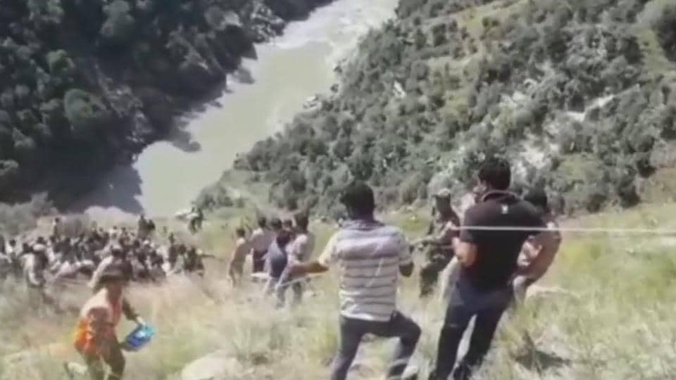 At least 13 people died and 13 others were injured, seven of them seriously after a minibus plunged 300 feet into a deep gorge near the Chenab river in the mountainous Kishtwar district of Jammu and Kashmir on Friday morning. Local people were the first responders to the accident before the police and the army were rushed to the spot to launch rescue operations. (ANI)