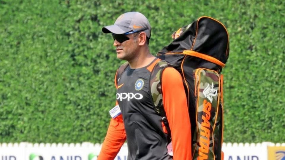 MS Dhoni during practice session in Dubai. (bcci/twitter)