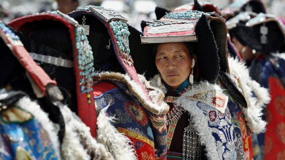 A Ladakhi woman dressed in a traditional costume attends the 'Sindhu Darshan'  festival in Leh, Ladakh, June 14, 2007. The annual festival is held in honour of the Indus river