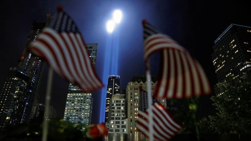 The Tribute in Light installation is illuminated over lower Manhattan as seen from The National September 11 Memorial & Museum marking the 17th anniversary of the 9/11 attacks in New York City. (Andrew Kelly / REUTERS)
