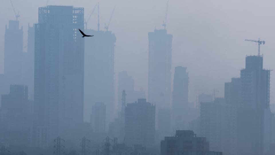 Mumbai's skyline on a smoggy day.