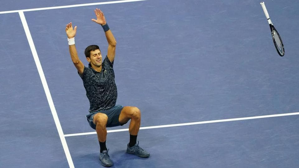 Novak Djokovic of Serbia celebrates his victory over Juan Martin del Potro of Argentina during their 2018 US Open men's singles final match in New York. (Kena Betancur / AFP)