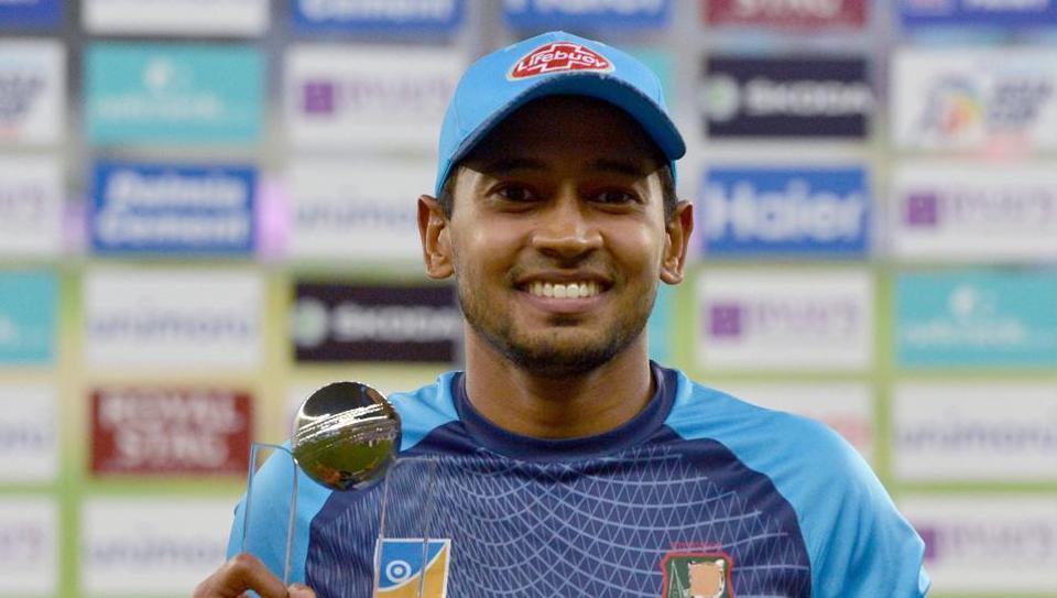 Player Of the Match Bangladeshi batsman Mushfiqur Rahim poses with the Cup.