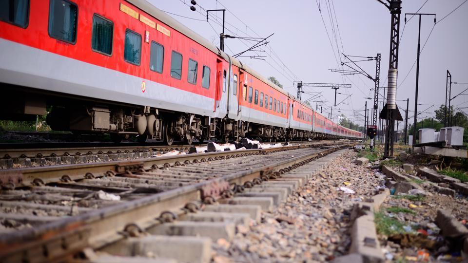 Rajdhani Express train at New Delhi.