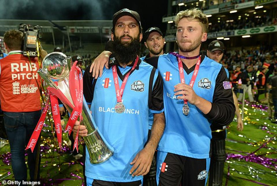 Moeen Ali and Joe Clarke of Worcestershire with the trophy after winning the Vitality T20 Blast Final between Sussex Sharks and Worcestershire Rapids at Edgbaston.