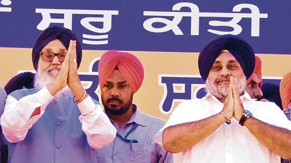 Former CM and SAD supremo Parkash Singh Badal and party president Sukhbir Singh Badal at the 'Pol Khol' rally in Faridkot on Sunday.