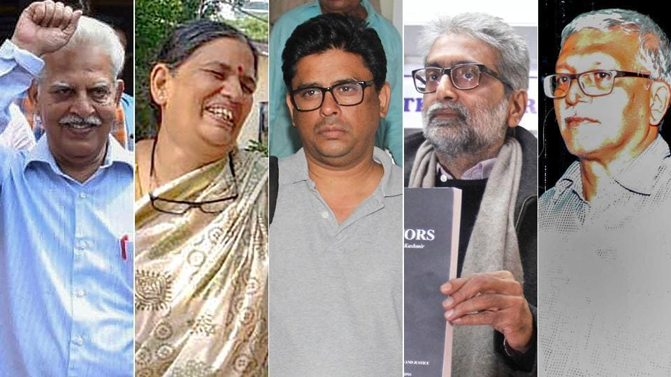 Rights activists (from left) P Varavara Rao, Sudha Bhardwaj, Arun Ferreira , Gautam Navlakha, and Vernon Gonsalves arrested in connection with the Bhima Koregaon  violence case.