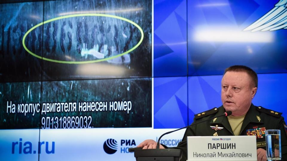 Russia's defence ministry Chief of the Main Rocket and Artillery Department Lt General Nikolai Parshin attends a press briefing dedicated to the crash of the Malaysia Airlines Boeing 777 plane operating flight MH17 in Moscow.