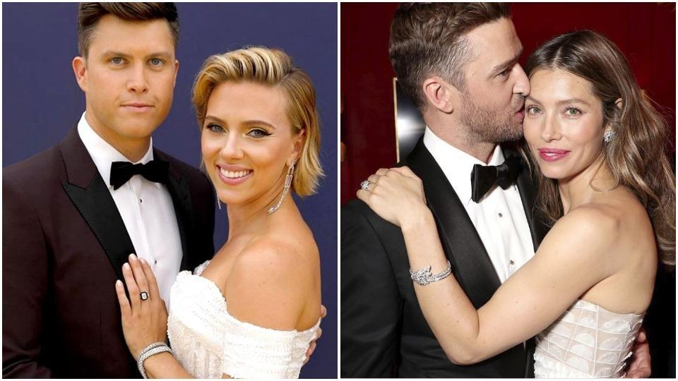 Saturday Night Live comedian Colin Jost, new girlfriend Scarlett Johansson and Justin Timberlake, wife Jessica Biel made it a date night at the 2018 Emmy Awards.  (Instagram)