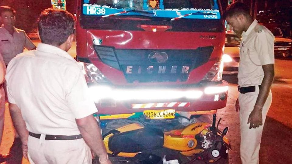 A view of the truck that hit the police patrol motorcycle; (below) special police officer Sanjay Singh, who succumbed to his injuries at a private hospital in Sector 56 Monday morning.