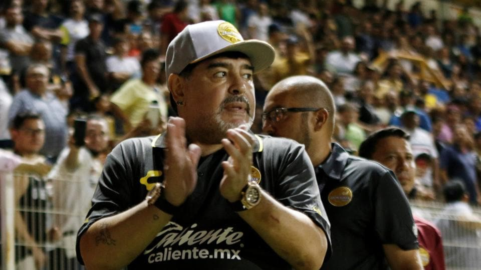 Dorados coach Diego Maradona celebrates after his team's win on Monday.