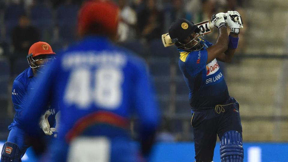 Sri Lanka's cricket team captain Angelo Mathews plays a shot during the one day international (ODI) Asia Cup cricket match between Sri Lanka and Afghanistan. (AFP)