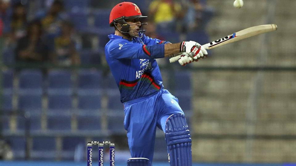 Afghanistan's Mohammad Nabi bats during the one day international cricket match of Asia Cup between Sri Lanka and Afghanistan. (AP)