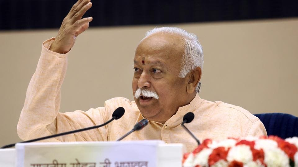 RSS chief Mohan Bhagwat speaks on the last day of the event titled 'Future of Bharat: An RSS perspective', in New Delhi on Wednesday.