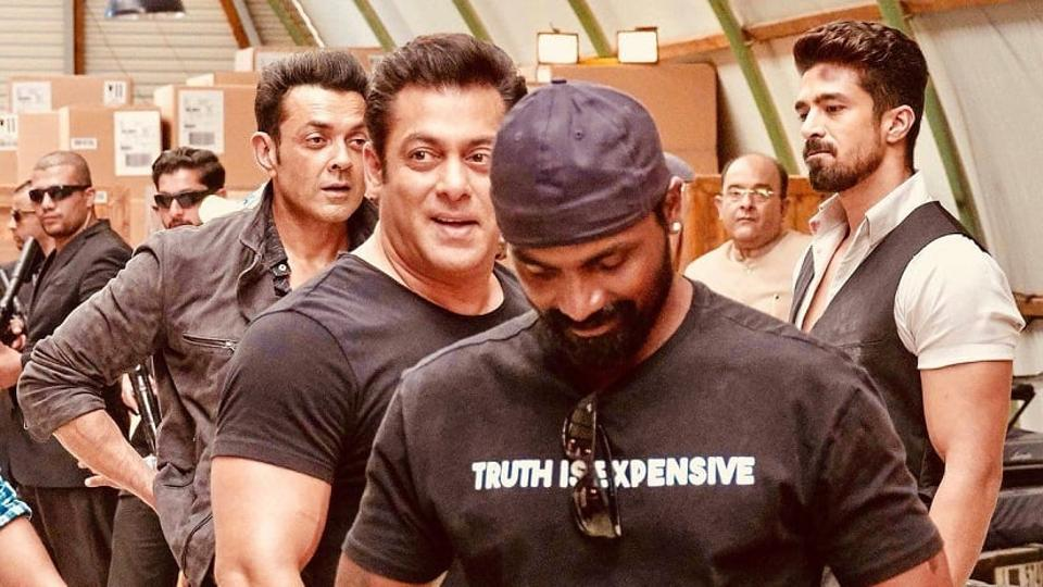 Remo D'Souza and Salman Khan on the sets of Race 3.