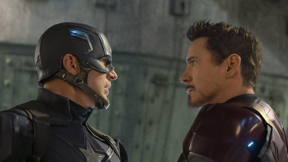 Chris Evans and Robert Downey Jr in a still from Captain America: Civil War, also directed by Joe & Anthony Russo.