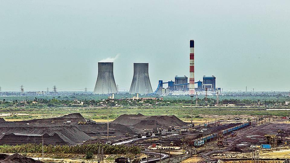A coal yard in front of a power plant in Krishnapatnam, Andhra Pradesh.