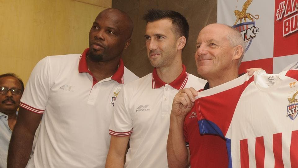 Kolkata, India - Sept. 20, 2018: ( L-R) ATK captain Manuel lanzarote and Head Coach ATK Steve Coppell unveiled new ATK jersey at CESC house in Kolkata, India, on Thursday, September 20, 2018.