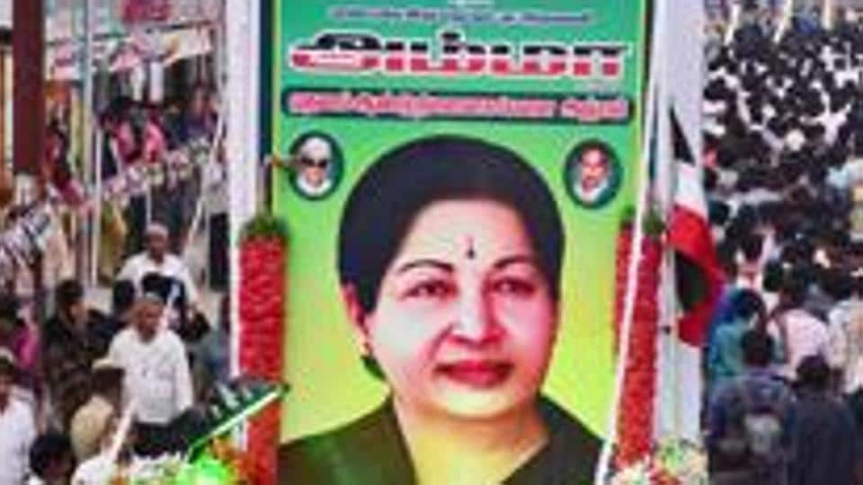 AIADMK cadres stage a 'silent rally' to observe the first death anniversary of J Jayalalithaa, at West Masi Street in Madurai, December. 2017.