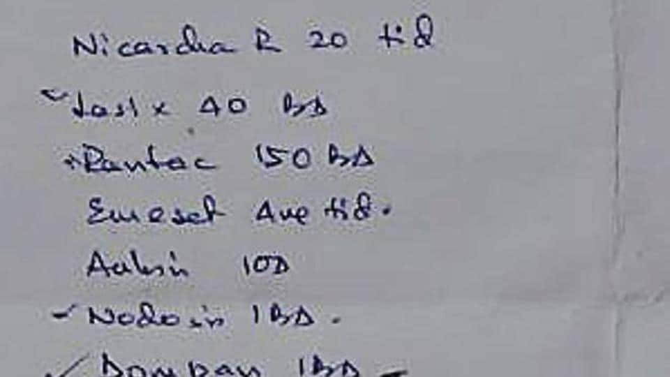 A prescription issued by a doctor in Dhanbad on Thursday.