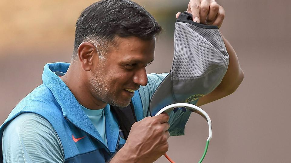 India A cricket coach Rahul Dravid returns to pavilion during a practice session ahead of the first test match against South Africa A.