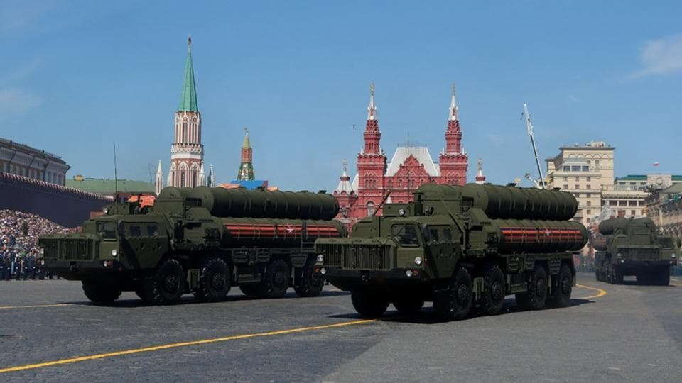 Russian servicemen drive S-400 missile air defence systems during the Victory Day parade. The United States has imposed sanctions on the Chinese military for buying Russian weapons, including the S-400 air defence missile that is also on India's shopping list.