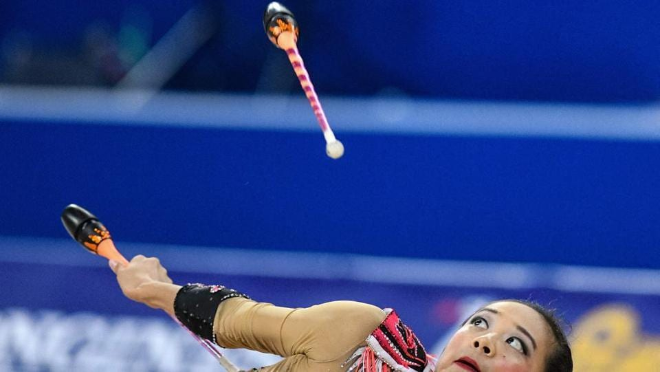 US Laura Zeng performs during the individual all-around final at the World Rhythmic Gymnastics Championships at Arena Armeec in Sofia, Bulgaria. (Dimitar Dilkoff / AFP)