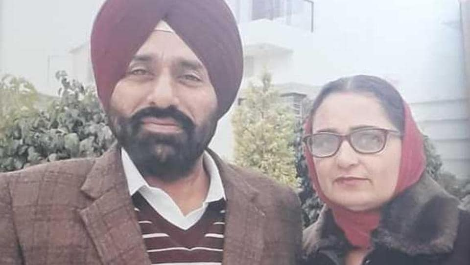 File photo of Manjit Kaur with her husband.